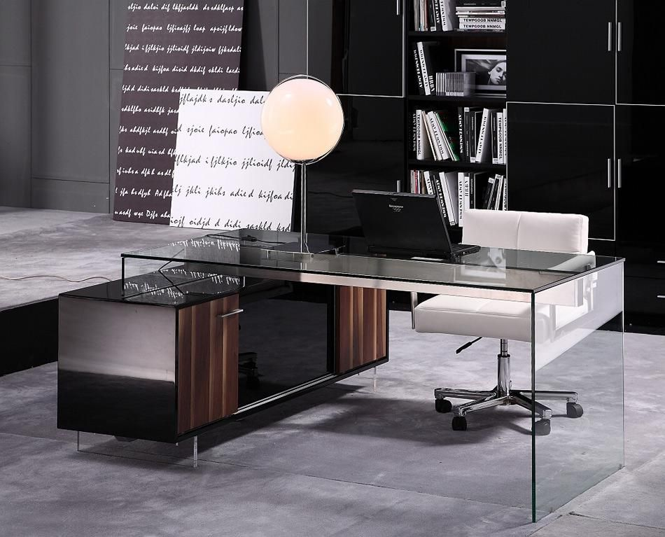 Contemporary Office Desk With Thick Acrylic Cabinet Support Legs