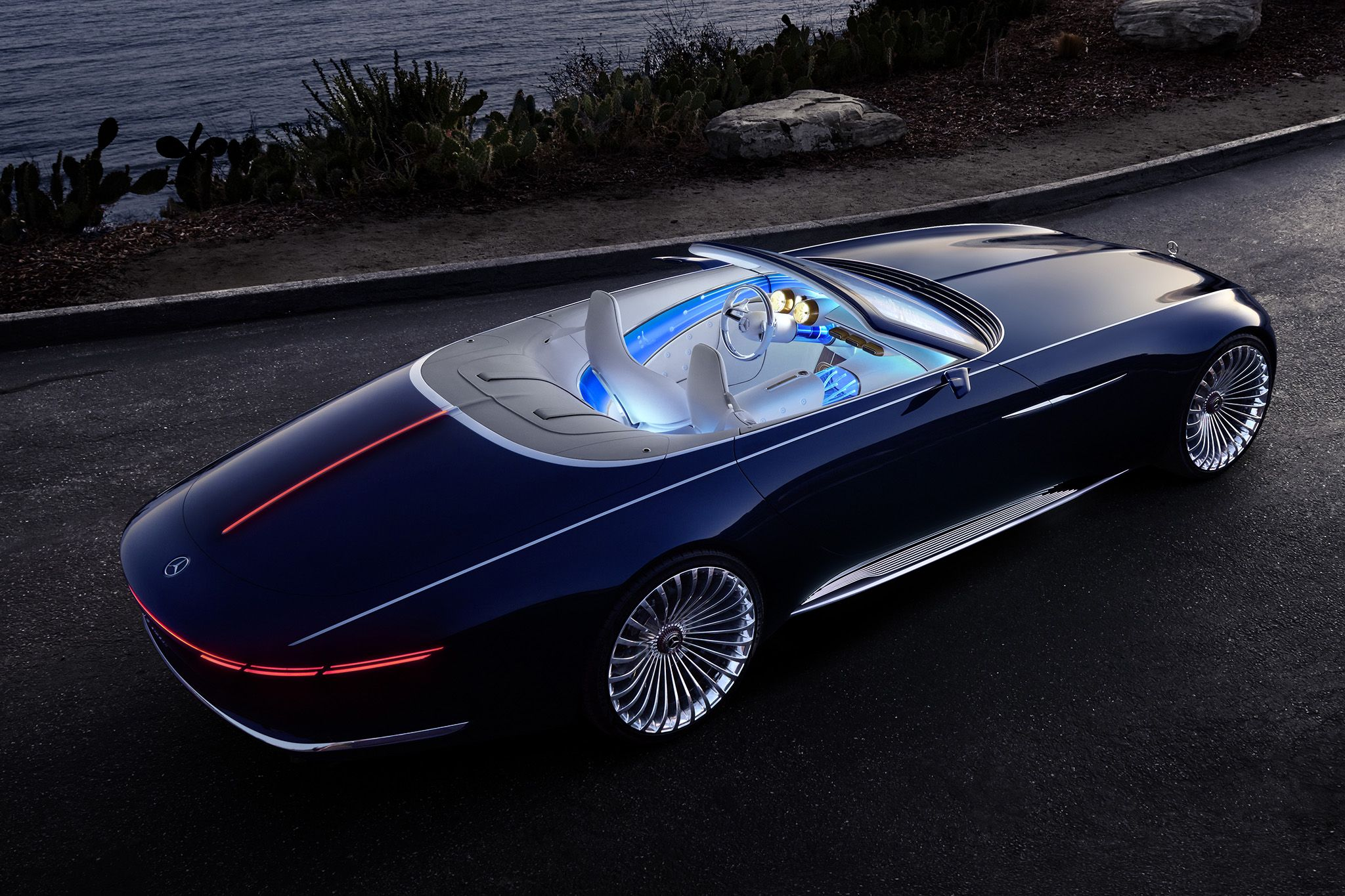 Mercedes Unwrapped A Stunning Electric Vehicle In Monterey California The Vision Mercedes Maybach 6 Cabriolet See It Here Mercedes Maybach Maybach Cabriolets