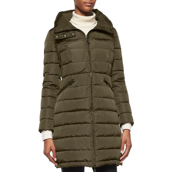 Moncler Flammette High-Neck Puffer Coat ($1,395) ❤ liked on Polyvore featuring outerwear, coats, olive, women's apparel coats, long sleeve coat, ...