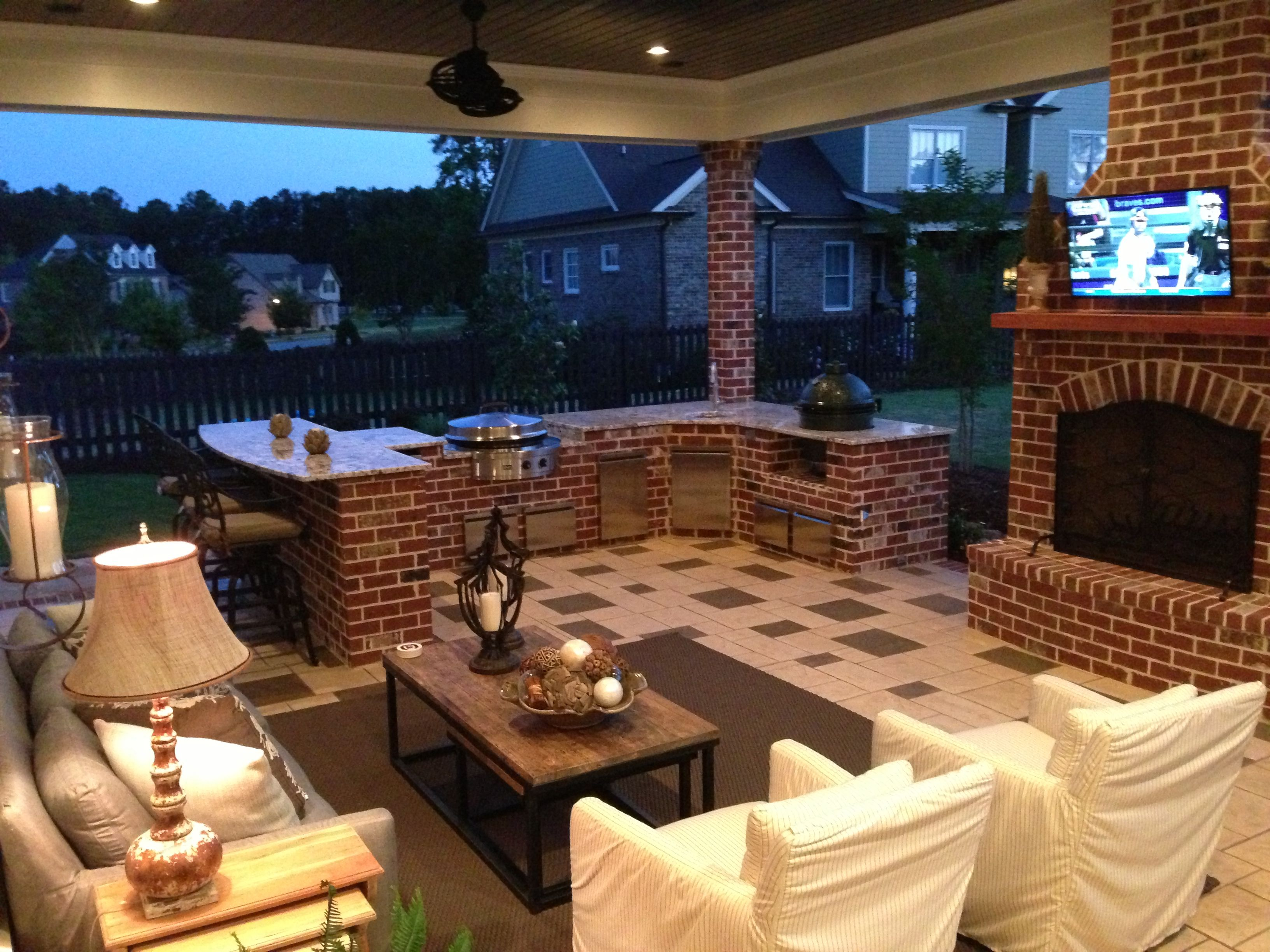 Outdoor Kitchen With Big Green Egg And Evo Grills