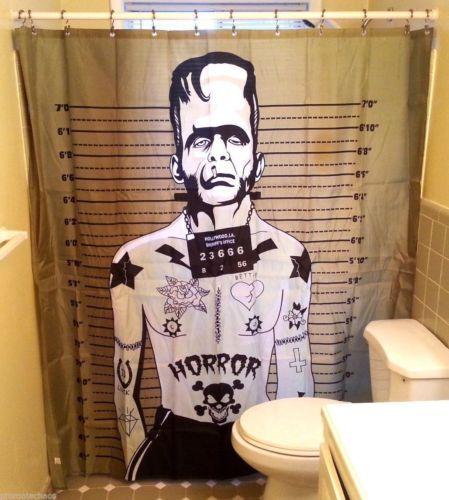 TATTOOED MONSTER FRANKENSTEIN Shower Curtain Horror Movie Too Fast Punk Gothic
