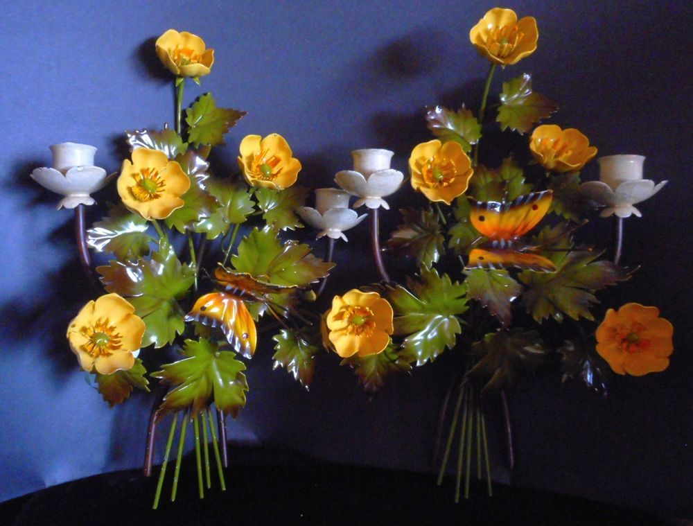 Pair Painted Tole Wall Sconces/Candle Holders/Yellow ... on Candle Wall Sconces With Flowers id=45500