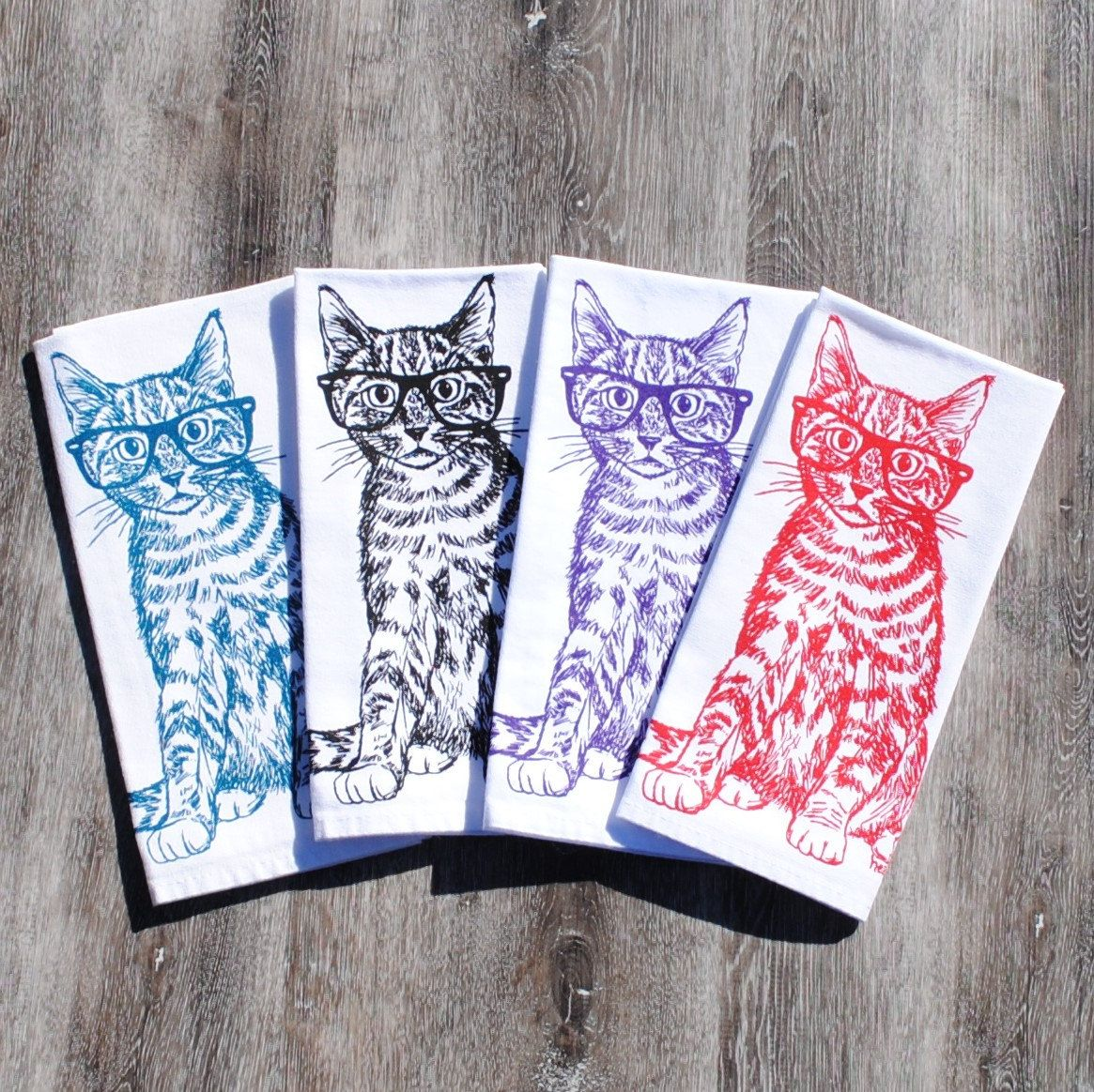 Kitchen Napkins Upholstered Chairs With Casters Set Of 4 Cat Cloth 6 Animal Cotton