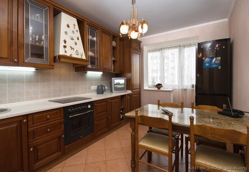 Pictures Of Kitchens Traditional Medium Wood Cabinets Brown Kitchen Design Small