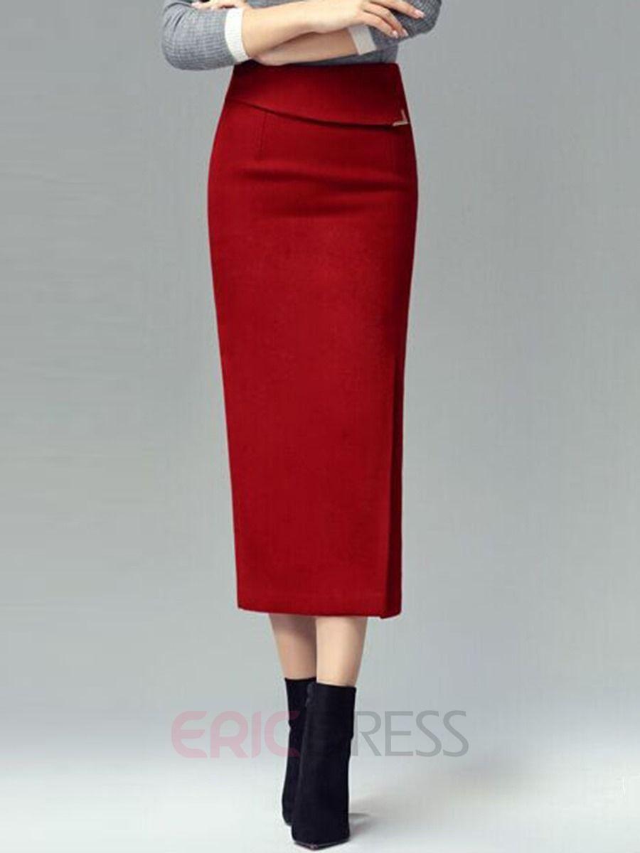 Ericdress Vintage Split Column Skirt 2