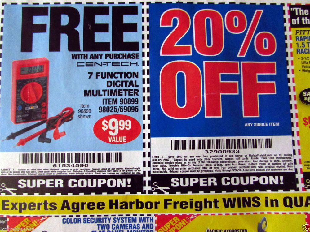 Harbor Freight Super Coupon 20 off Single Item & Other