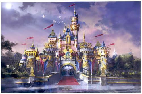 Disneyland Sleeping Beauty Castle 50th anniversary | the castle the five tiaras of sleeping beauty castle the concept art