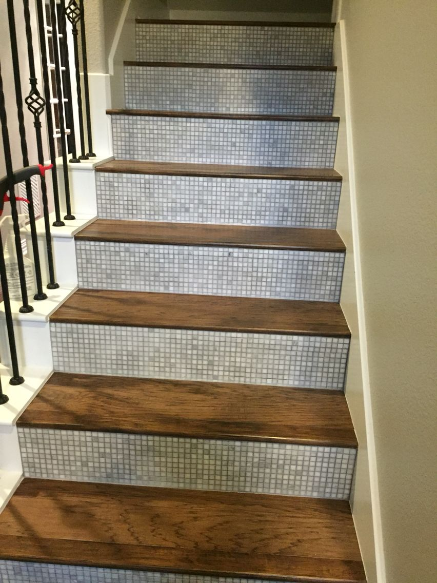Tile Stair Risers with Hickory steps. Wood , Laminate