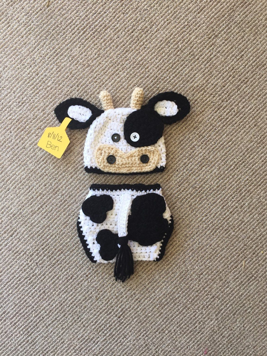 Boy Black And White Crochet Cow Hat And Diaper Cover Farm Animals
