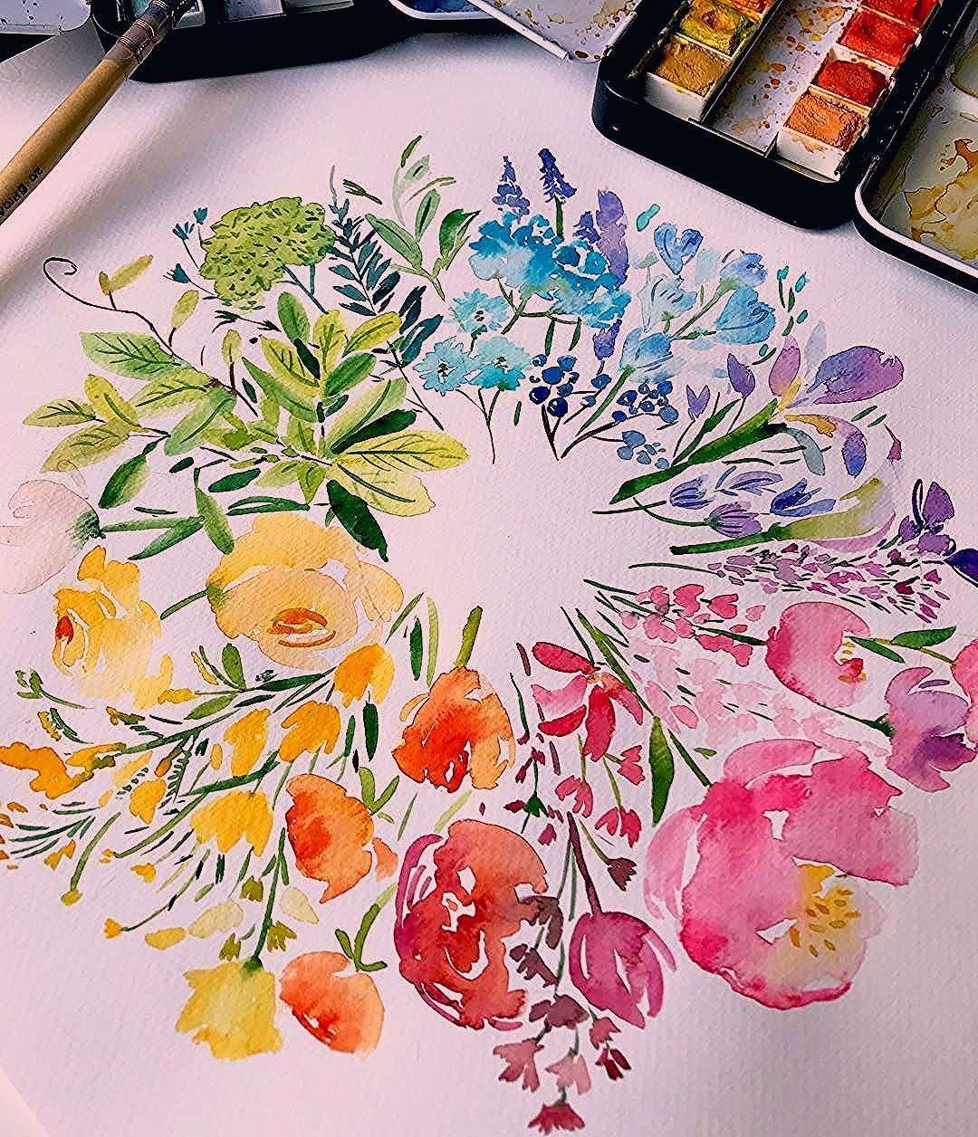 """Enya&;s art of patisserie on Instagram """"Happy Friday with the colourful flowers wheel ???&; Enya&;s art of patisserie on Instagram """"Happy Friday with the colourful flowers wheel ???&; Binahayat binahayat1392 paint Enya&;s art of[…]  #art #Colourful #Enyas #flower painting #flowers #Friday #Happy #Instagram #patisserie #Wheel"""