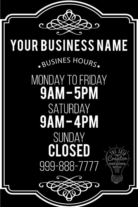Custom Business Store Hours Vinyl Window Decal By TheSkinCreator - Window stickers for business hours