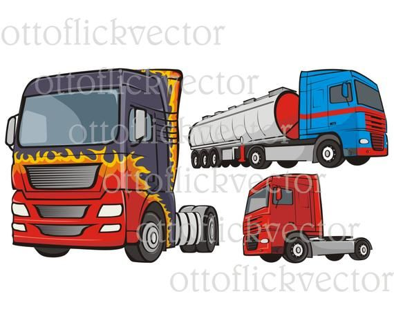 Truck Vector Clipart Color Digital Graphic Eps Ai Cdr Png Jpg