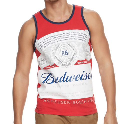 22d0d040638b7f Men s Budweiser King Of Beers Graphics Tank Top T-Shirt Red Size Large NWT   Budweiser  GraphicTee