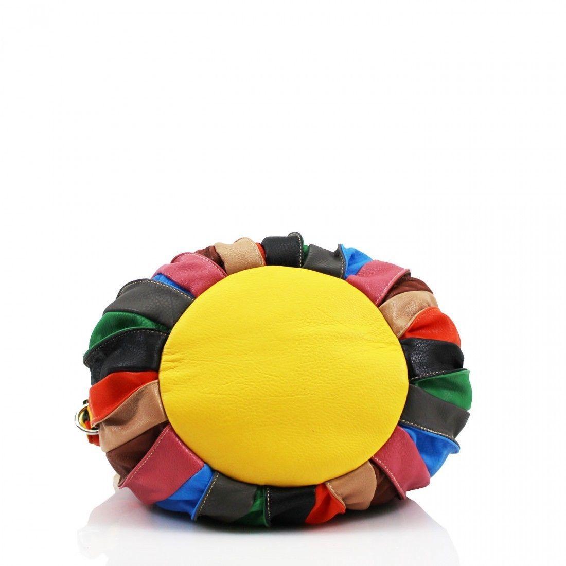 Womens designer handbag shoulder bucket crossbody multicolour
