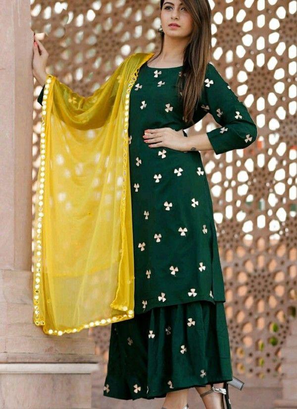Fabulous Designer Hunter Green Color Georgette Base Palazzo Suit