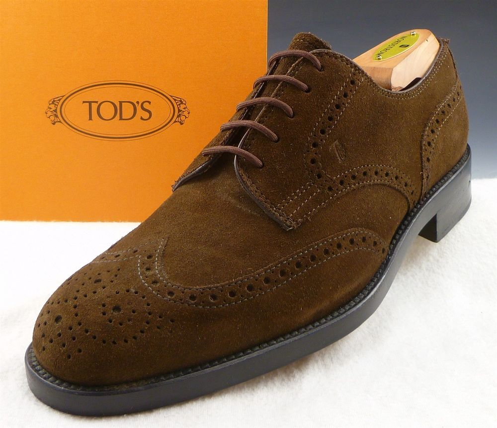 eaa19a6014 Tod's Mens Shoes Size 7 Suede Brogue Toe Wingtip Oxfords Dark Brown US 8 # Tods #Oxfords
