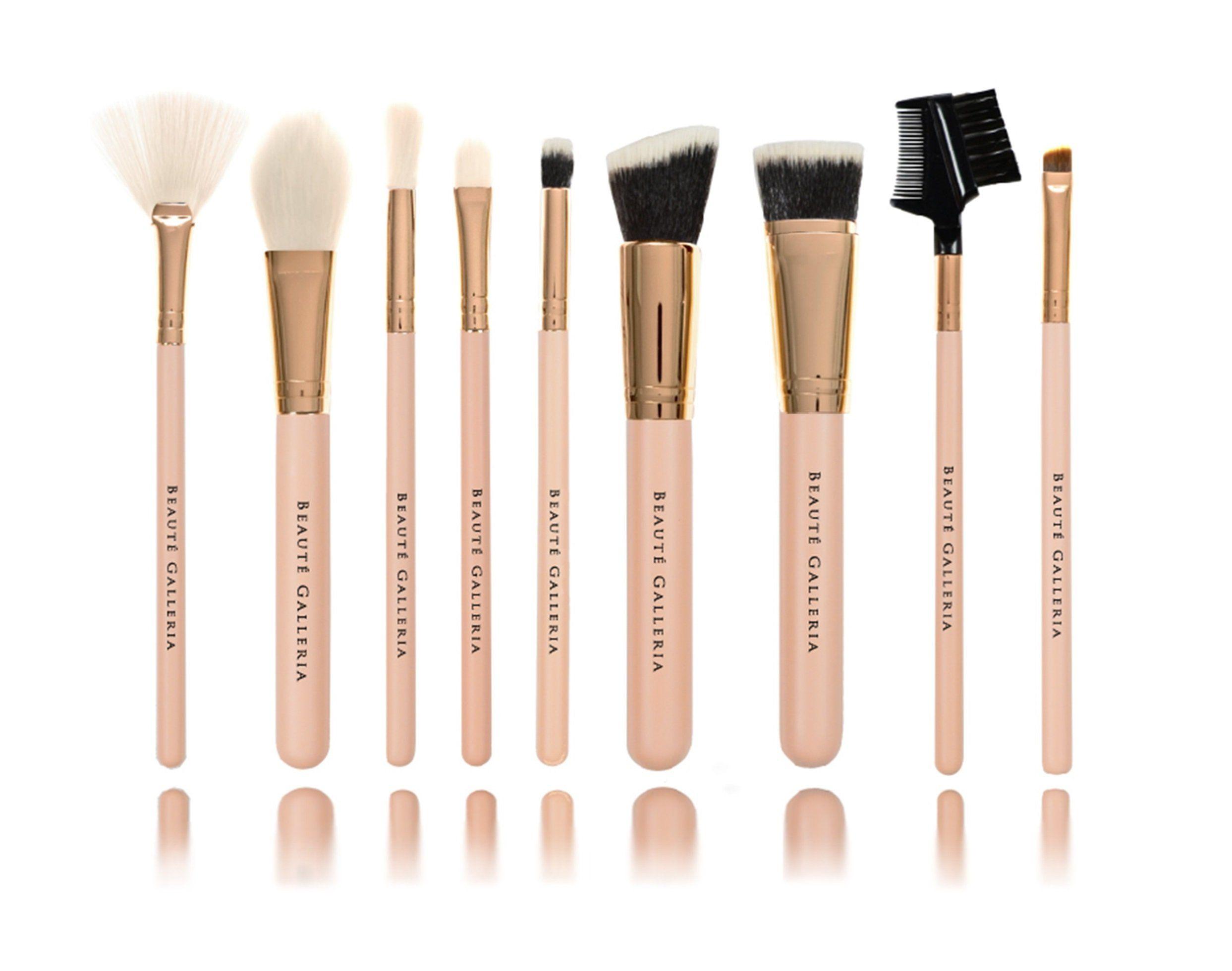 Beaute Galleria 9pcs Makeup Brush Set with Cosmetic Bag