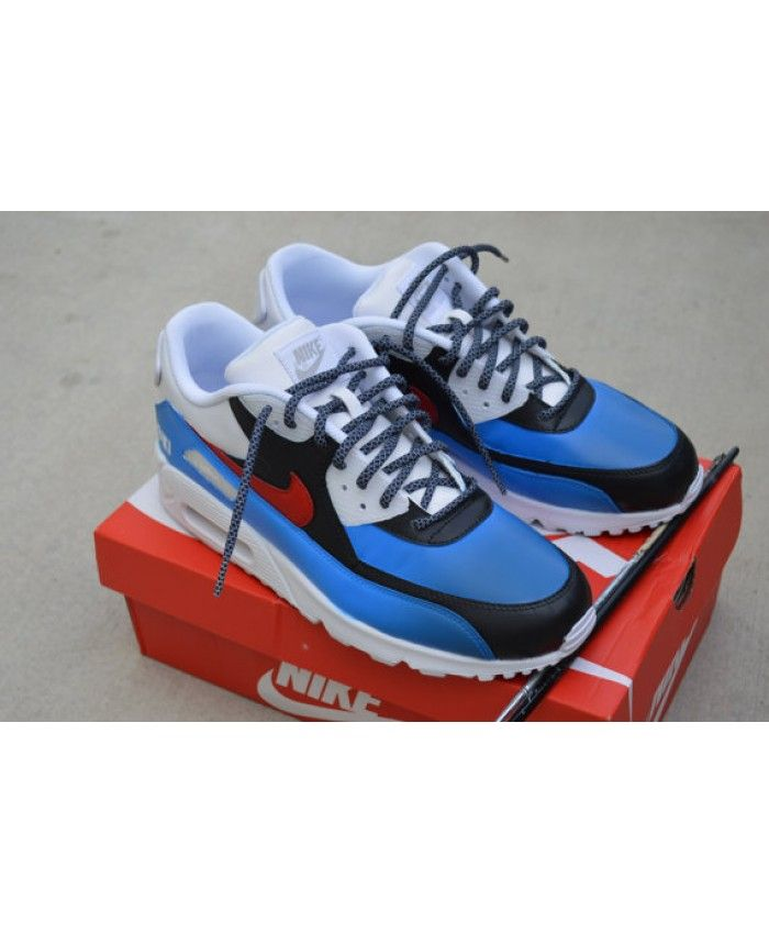 Nike Air Max 90 Custom Painted White Blue USA Theme Mens Trainers Cheap