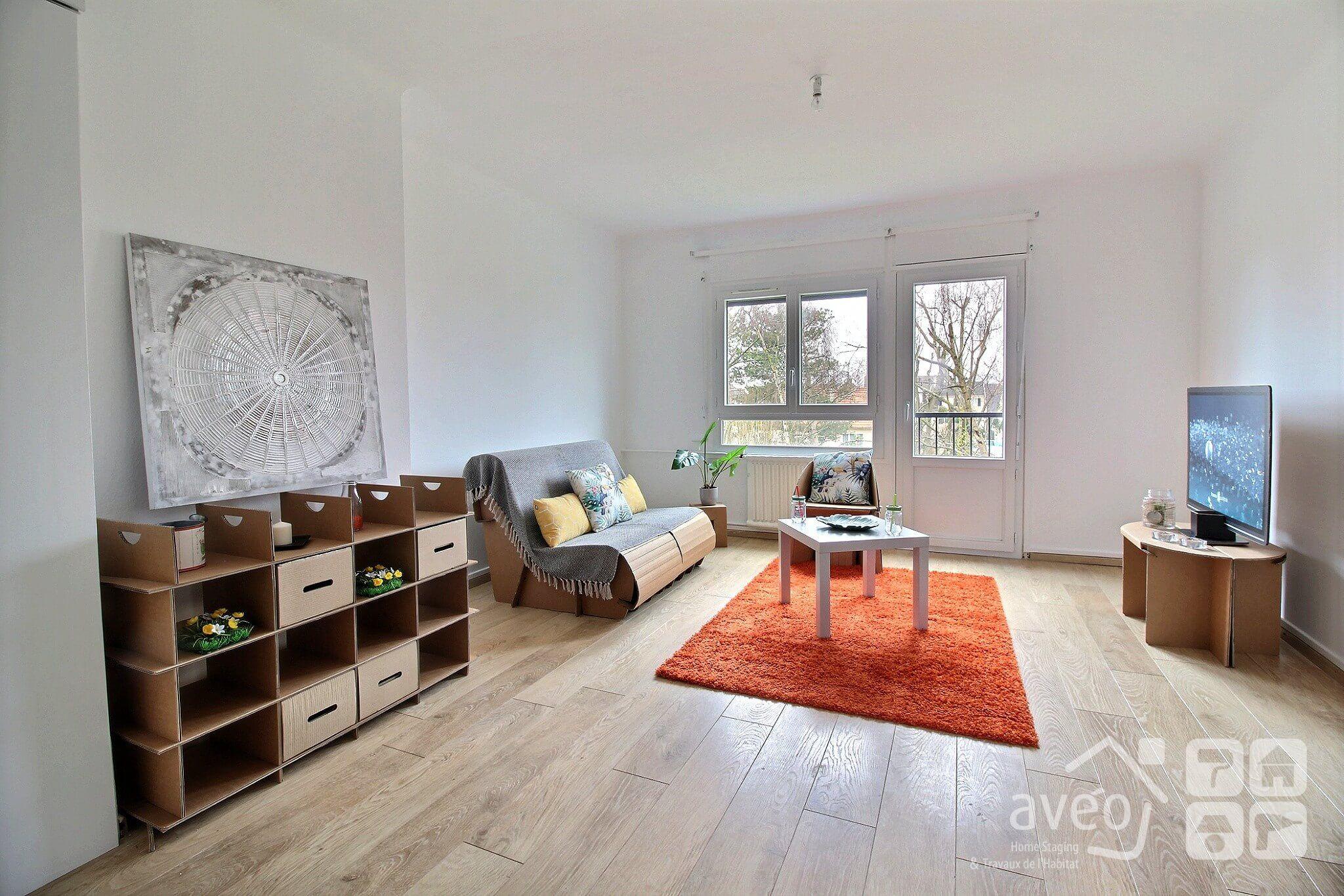 Meubles En Carton Pour Home Staging succès du mobilier écologique pour cet appartemment de