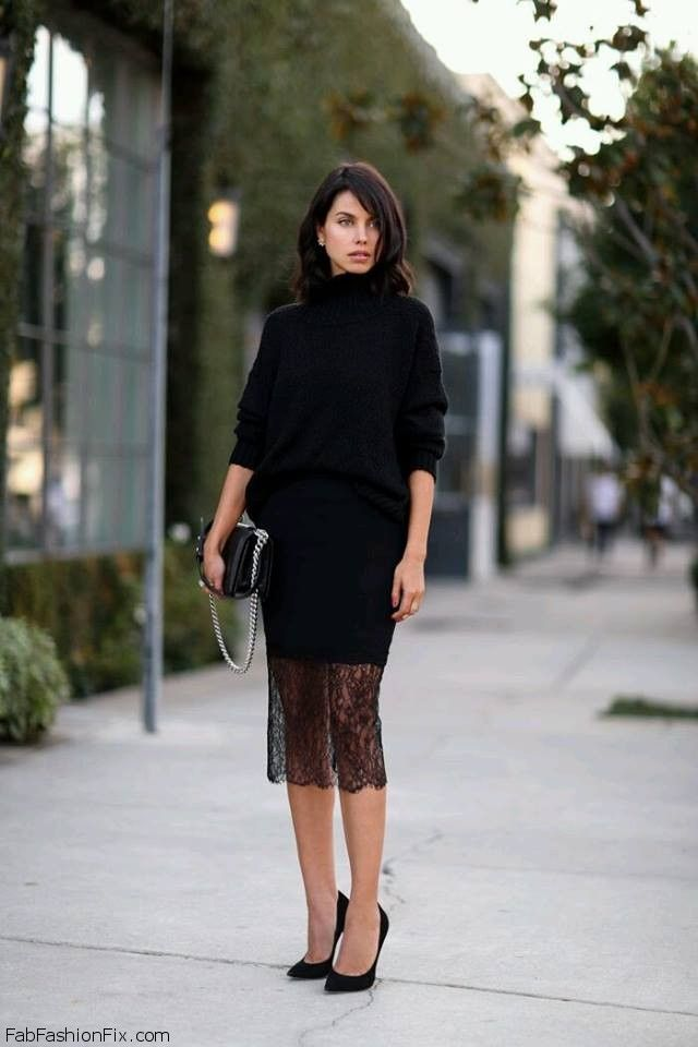 f4215ff5a9f Black turtleneck sweater and black lace pencil skirt for elegant wedding  outfit.  black