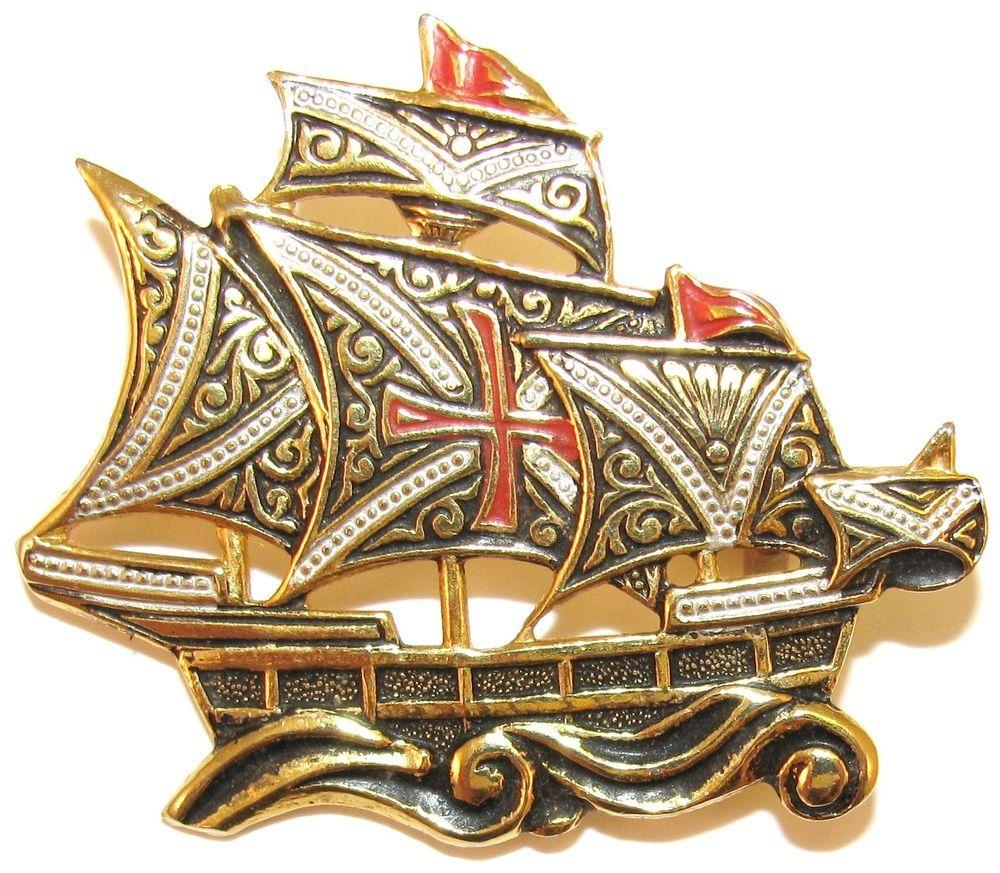 VINTAGE SPANISH DAMASCENE SAILING SHIP BOAT BROOCH ENAMEL DETAIL FIGURAL SPAIN