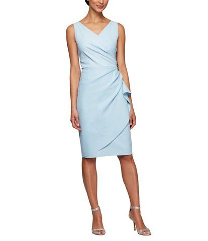 Alex Evenings Ruched Sheath Dress - Short sheath dress, Dresses, Ruched dress, Fashion, Gowns dresses, Mother of the bride dresses - spandex hand wash Imported DMS 0133 419 134005