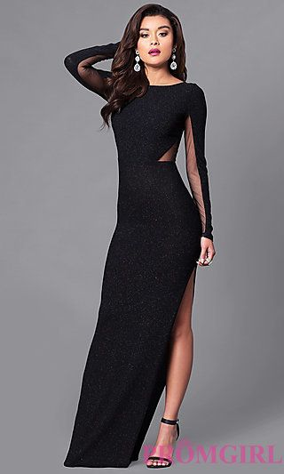 05d3c4859c7 Floor-Length Long-Sleeve Glitter Dress with Sheer Back at PromGirl.com