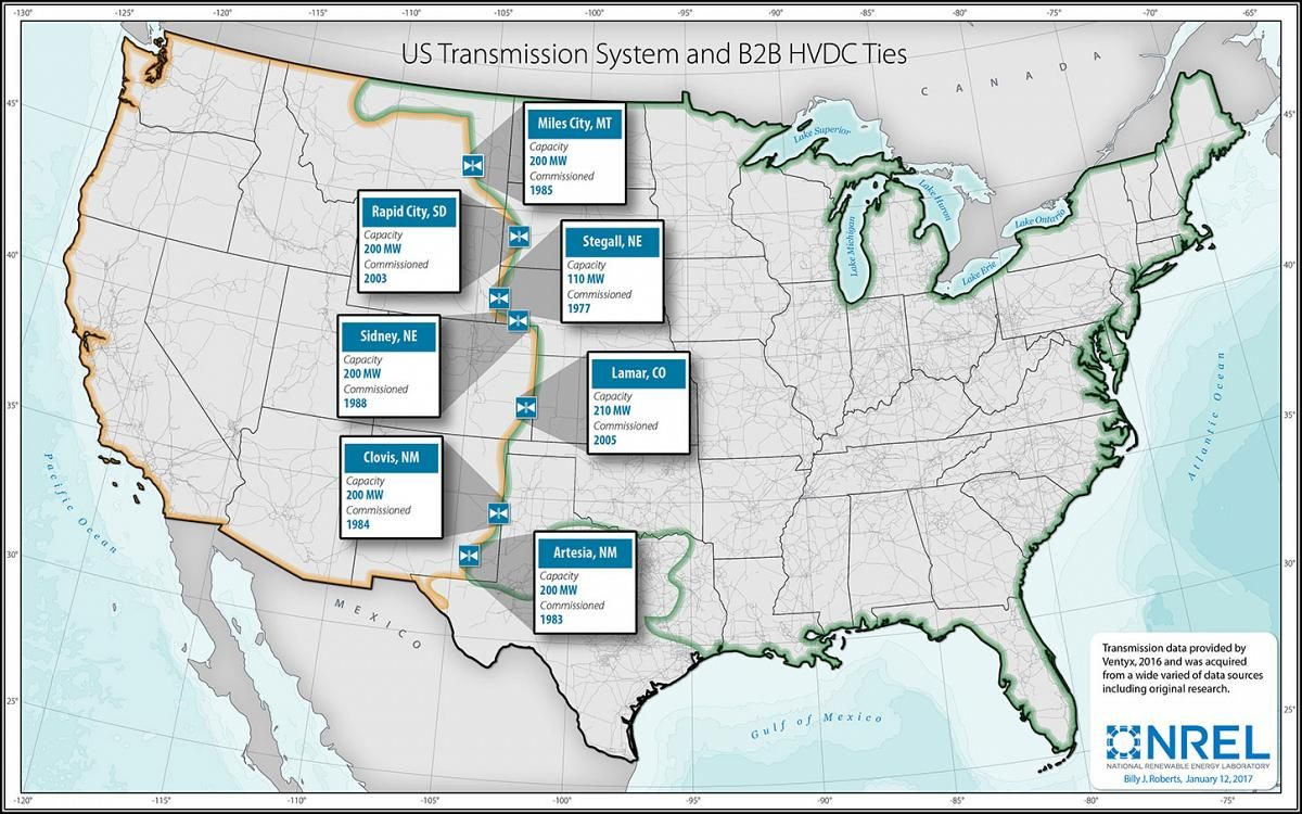 Graphic Of A Map Of The U S Transmission System Showing