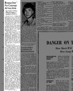 Sgt Melvin Collins Bronze Star On Page 5 Oct 6 1945 Bronze Stars Melvin Sergeant