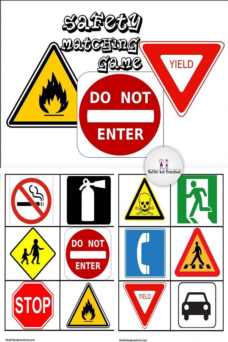 Safety Sign Matching File Folder Game Transportation