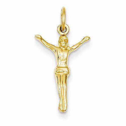 14k Yellow Gold Crucifix Charm
