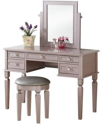 Bobkona Vanity table with stool set in Rose gold Products in 2018