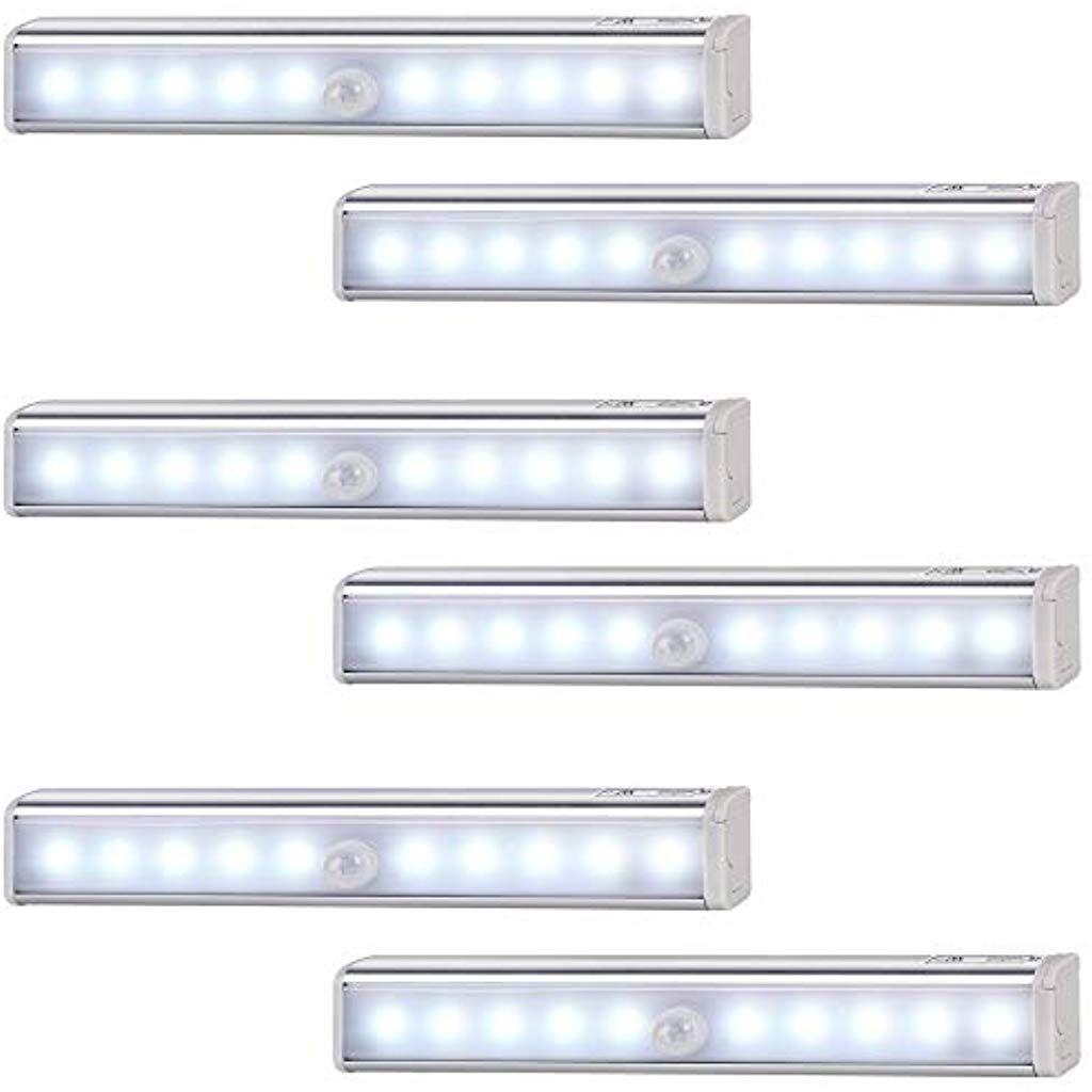 Monzana 6er Set Led Schrankleuchte Mit Bewegungsmelder Unterbauleuchte Schrankbeleuchtung Nachtlicht Lampe Beleuchtung Schrankbeleuchtung Innenbeleuchtung Led