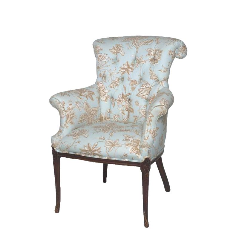 Best Kimber Floral Chair At Found Vintage Rentals Blue And Tan 400 x 300