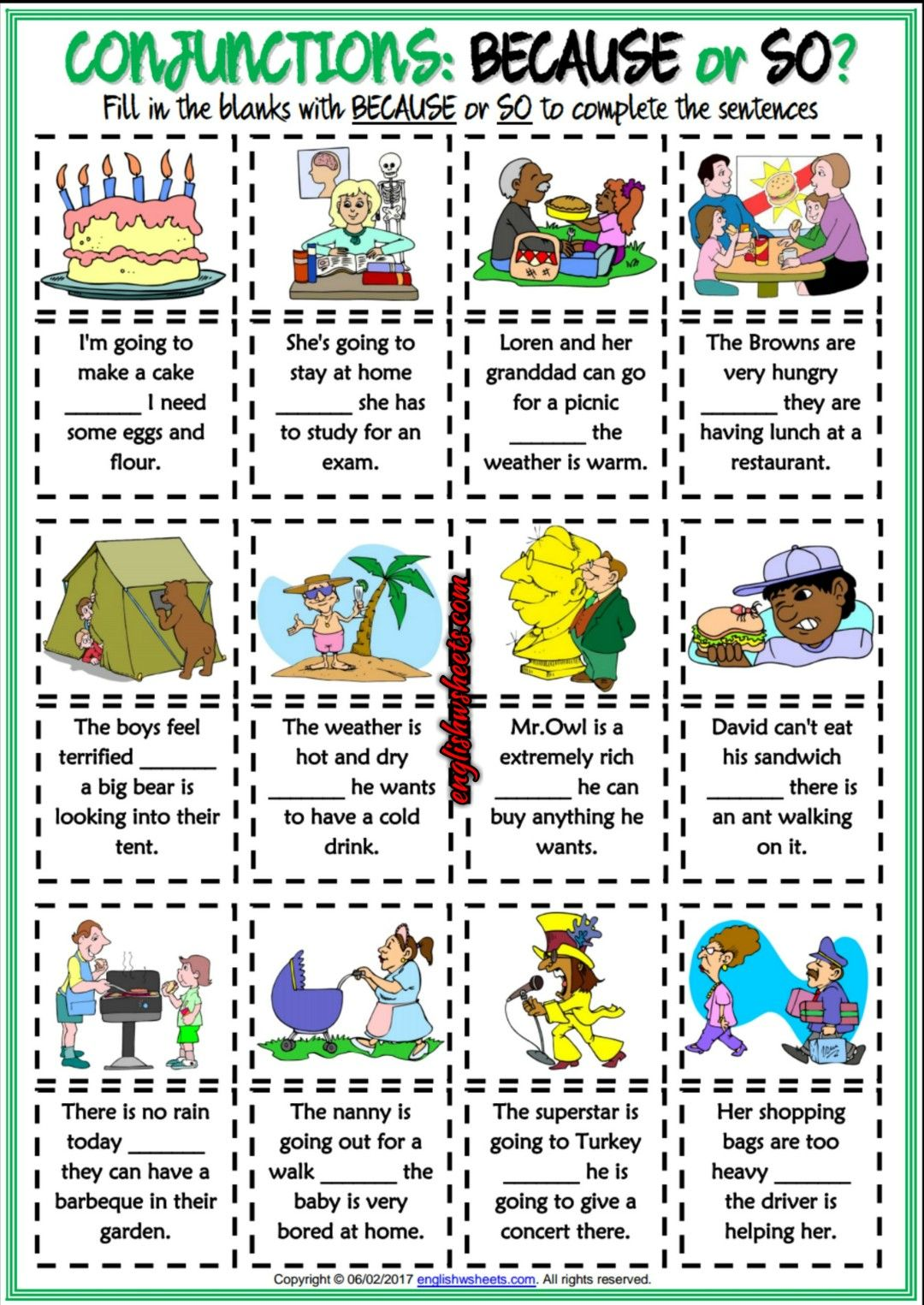 Because Or So Esl Printable Gap Fill Exercise Worksheet Esl