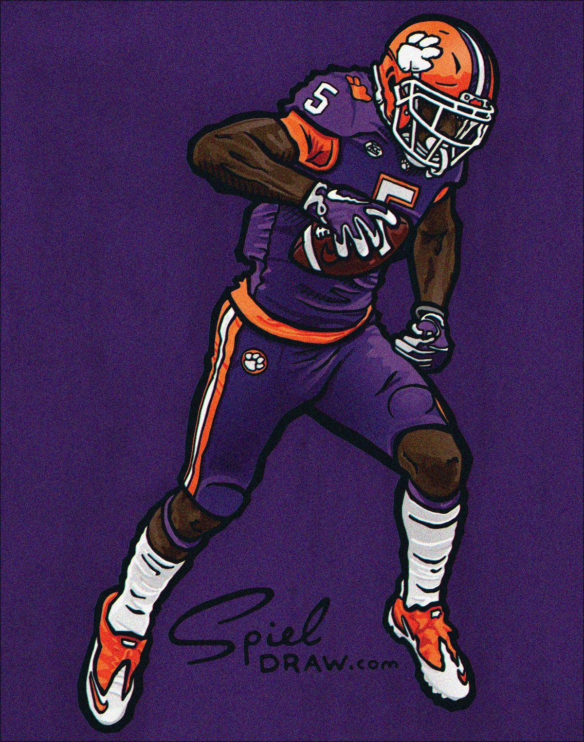 Digital Illustration Of Clemson Wide Receiver Tee Higgins Created With Procreate And Photoshop Nfl Football Art Football Art College Football Art