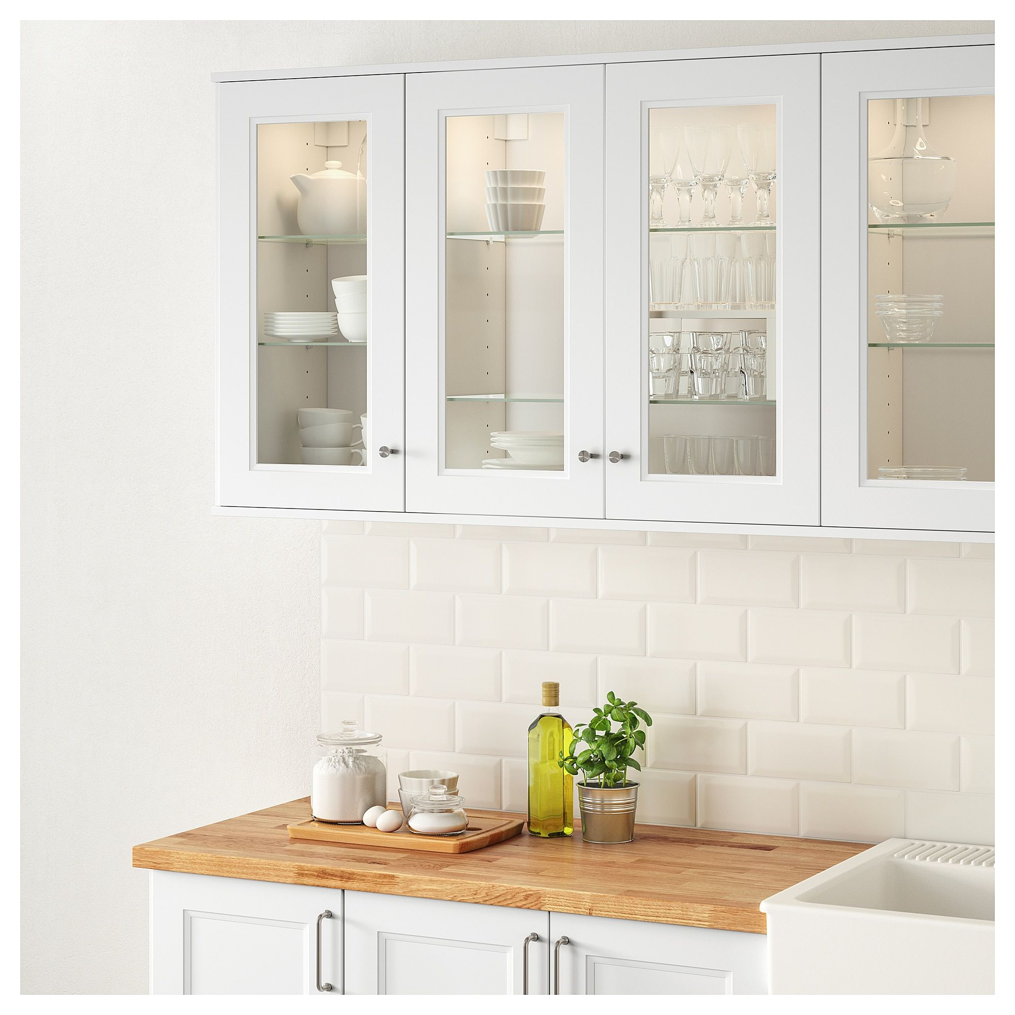 Ikea Axstad Matt White Glass Door New Kitchen Cabinets Glass