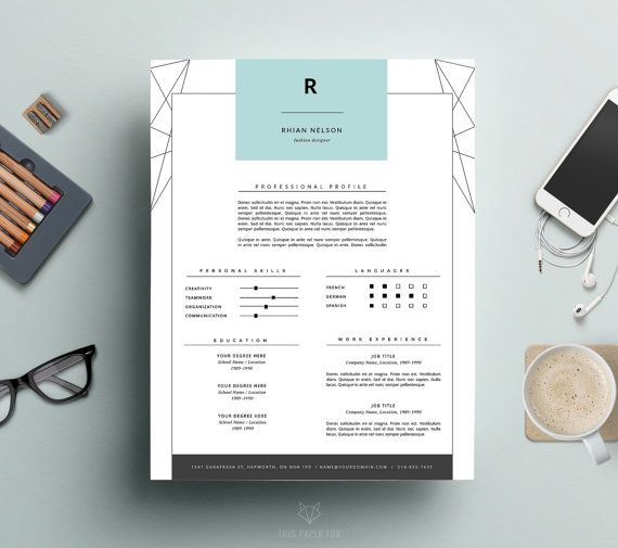 Professional Resume Template And Cover Letter For Ms Word  Iwork