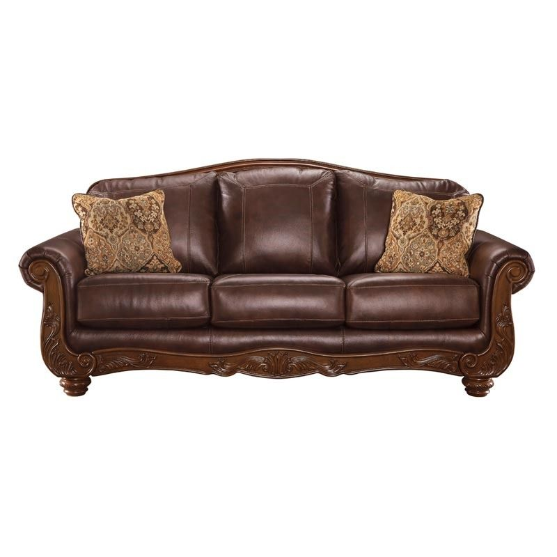 Ashley Mellwood Leather Sofa with Wood | Furniture and Mattress ...