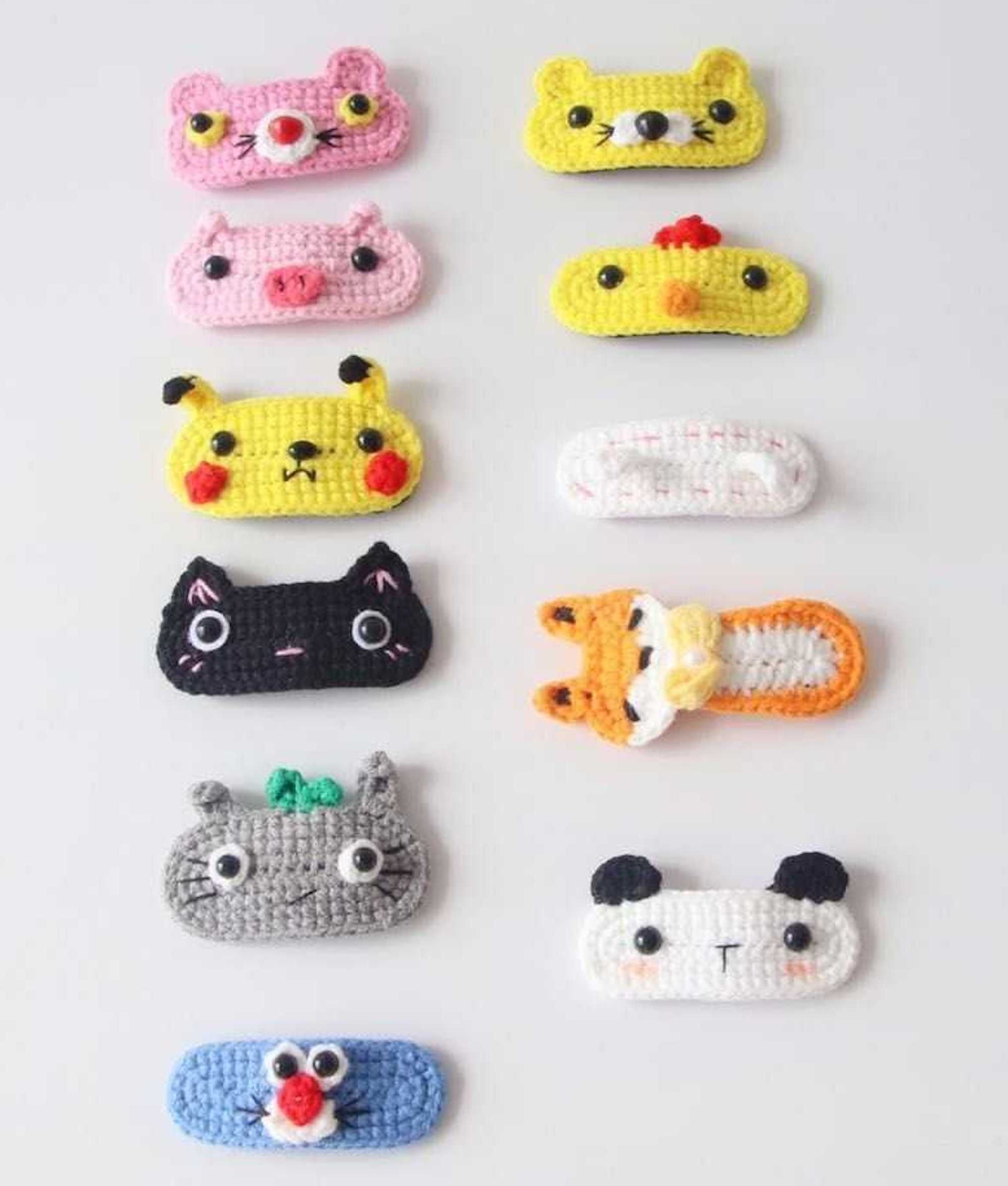Crochet cute hair clips for toddlers Ladies hair clips Handmade embroidery Knit hair clips