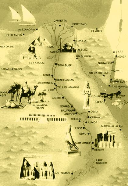 Egypt map includes the most important sights and Egypt cities ...