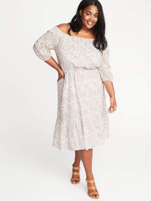 Waist Defined Off The Shoulder Plus Size Dress Plus Size