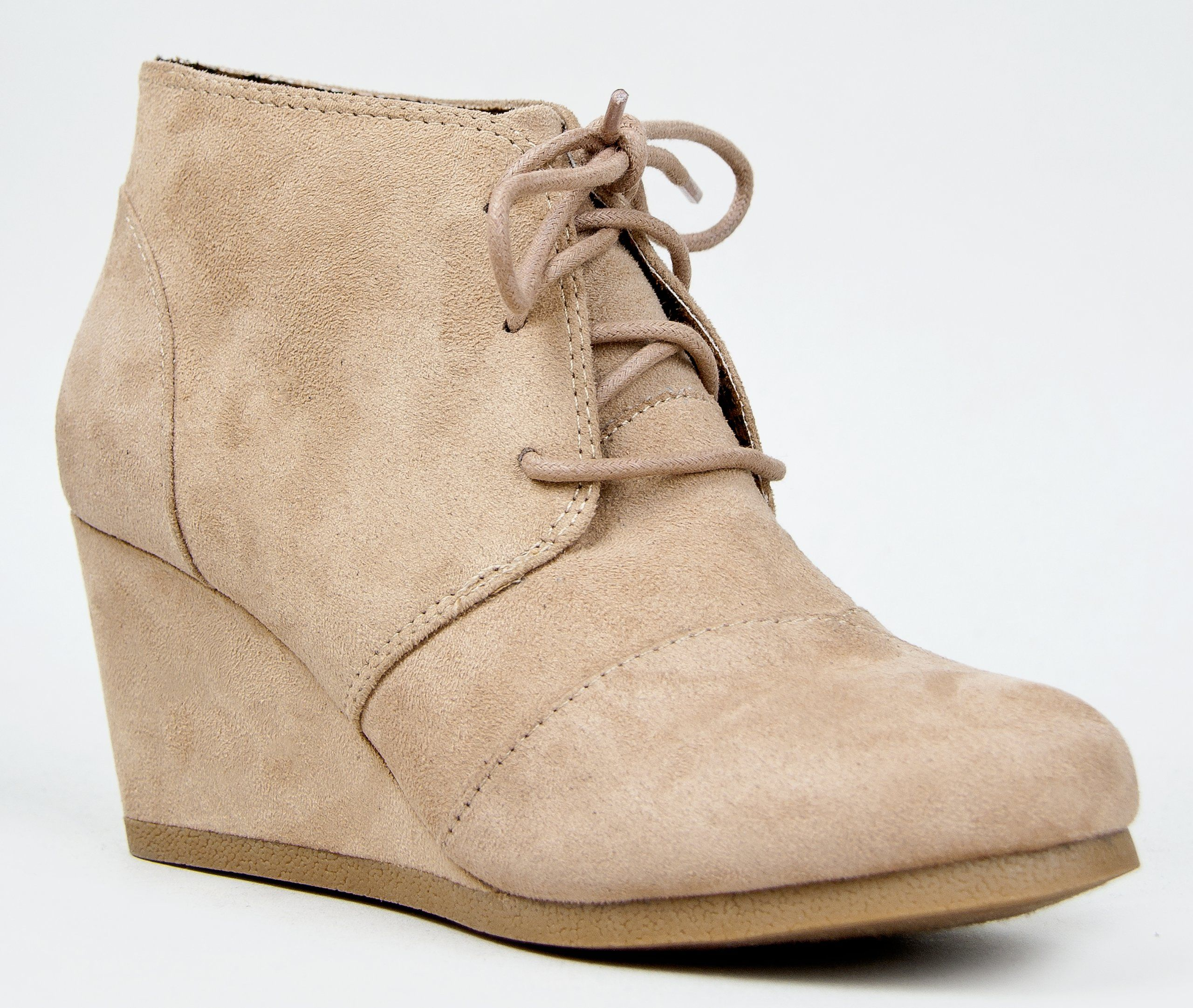 a9edded5040 Nature Breeze Willow-01 Women s Lace Up Faux Leather Ankle Wedge Boots  Color  Taupe Size  7  18.62  Pinned 09.19.14