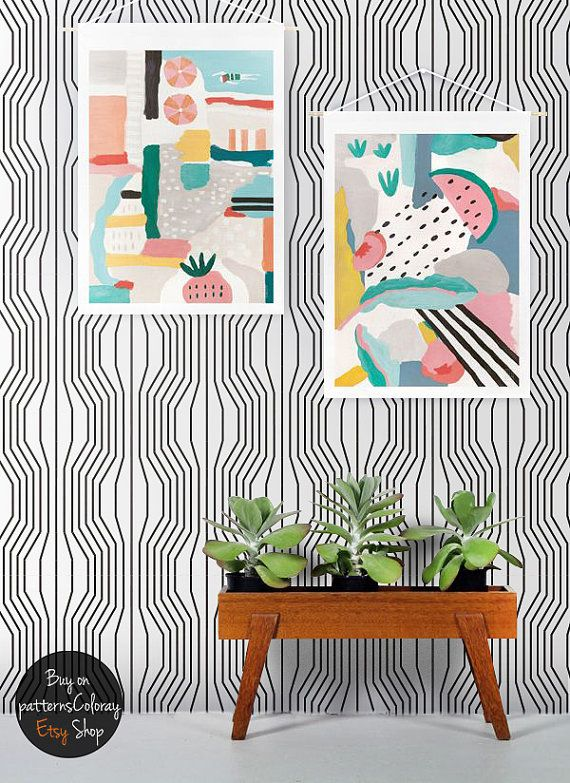 Geometric Illusion Pattern Peel And Stick Wallpaper Etsy Wall Murals Removable Wallpaper Peel And Stick Wallpaper