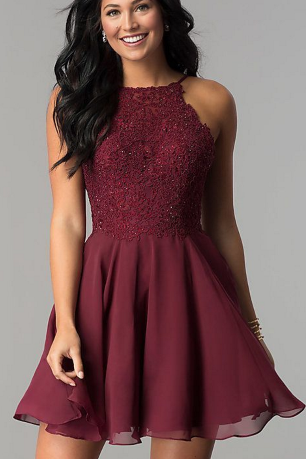 Beaded-Lace A-Line Short Homecoming Dress