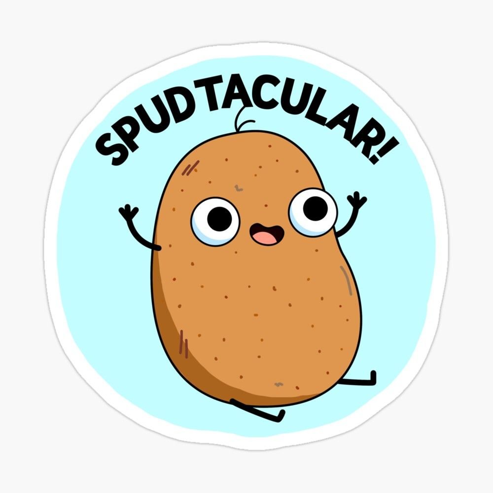 spudtacular vegetable food pun photographic print by punnybone redbubble in 2020 potato puns cute potato food puns potato puns cute potato