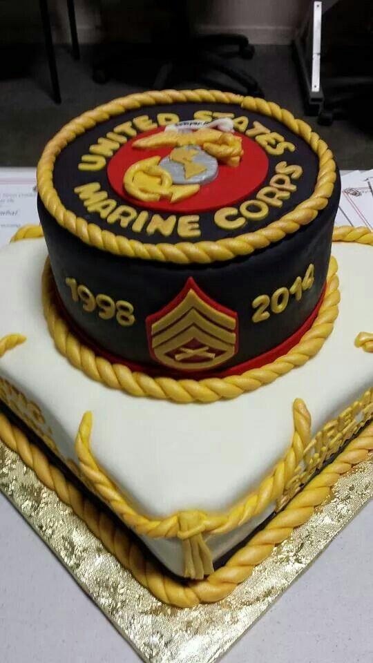 Retirement Cake Usmc With Images Retirement Cakes Cake