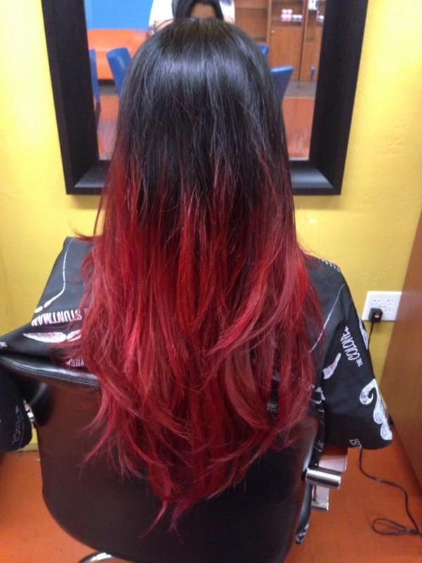 Makeup Story Behind The Chair Black To Red Ombre Red Ombre Hair Black Red Hair Black Hair Ombre