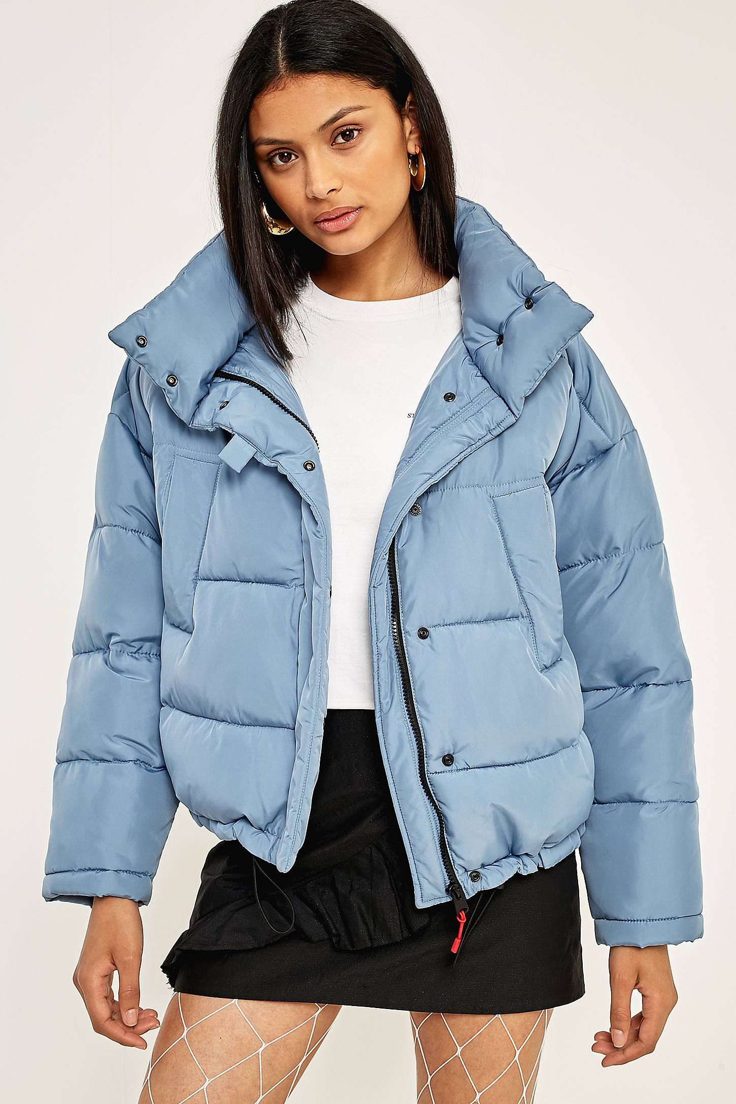 Baby Blue Cropped Puffer Jacket in 2019 | Blue puffer jacket