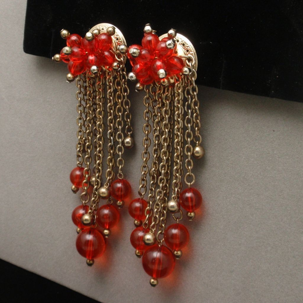 """4 1/2"""" Long Earrings Vintage Gold Tone with Red Beads"""